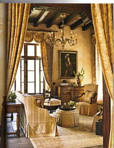 "Old world elements from France & Italy in a Southwestern style home in Santa Fe by Houston designer Beverly Jacomini. This photo was in the September-October 2007 Southern Accents Magazine, ""Santa Fe Getaway"" article. Beautiful!"