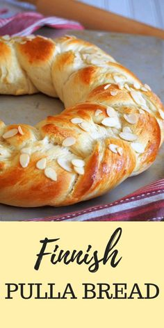 Finnish Pulla Bread - Woman Scribbles Finnish Pulla is a celebration bread braided beautifully like a wreath. It gets its nice flavor from the cardamom and it is adorned with crunchy almonds as finishing on top. Bread Recipes, Baking Recipes, Dessert Recipes, Desserts, Vegan Recipes, Pulla Recipe, Finnish Pulla Bread Recipe, How To Make Bread, Food To Make