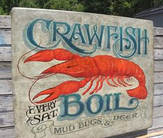 Cajun Crawfish Boil Graphics | Crawfish-Boil-Sign-hand-painted-decor-folk-art-seafood-vintage-decor ...