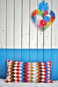 podkins:  Stunning work from Wood Wool Stool - Harlequin Crochet Pillow. Hours of work!
