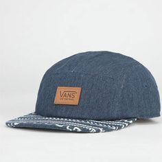 Vans patch on front. Adjustable faux leather strap at back. 5 Panel Cap, Panel Hat, Summer Cap, Vans Off The Wall, Tribal Prints, Chambray, Diy Crafts, Hats, Womens Fashion