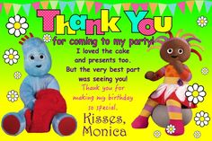10 Personalised Iggle Piggle Upsy Daisy Girls Thank You Cards