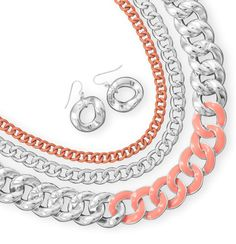 Triple Strand Multisize Curb Style Fashion Necklace and Earring Set