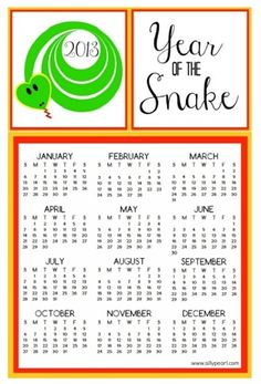 Year of the Snake 2013 Printable Calendar Chinese New Year Free Download - The Silly Pearl
