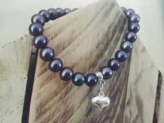 Heart Charm Bracelet / Black Pearls / Sterling Silver / Puff Heart Charm Bracelet / Birthday Gift Idea / June Birthday Gift