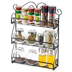 EZOWare Spice Rack Spice Jars Bottle Holder Storage Organizer Shelf for Kitchen Scroll Wall Mounted, Pantry, Cabinet, Counter top Free Standing Rack- Black 3 Tier Spice Rack, Spice Set, Kitchen Organization Pantry, Spice Organization, Kitchen Pantry, Kitchen Dining, Kitchen Decor, Wall Mounted Storage Shelves, Storage Rack