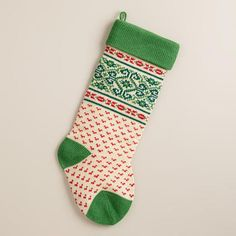 Green Nordic Knit Stocking | World Market