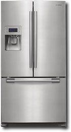 French door refrigerator by Samsung. Samsung Fridge Freezer, Bottom Freezer Refrigerator, French Door Refrigerator, Food Shelf, Interior Design Kitchen, New Kitchen, Drink Dispenser, Home Kitchens, Appliance