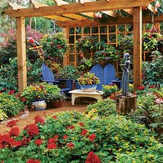 Hanging Annuals  Love the pergula - could do something like this on a smaller scale...