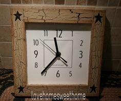 Primitive Crackle Tan & Black Star Wood Wall Clock ~ Country Decor #NaivePrimitive
