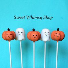 12 Cute Little Pumpkin Cake Pops for Halloween by SweetWhimsyShop