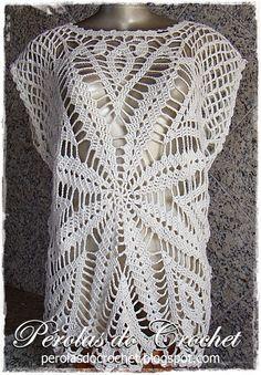 Blusa em crochet modelo Madri. Confeccionada com fio 100% algodão Fio Charme da Círculo e agulha 2,75mm Encomendas p...