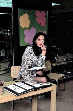 Diane von Furstenberg in her showroom, New York City, 1976
