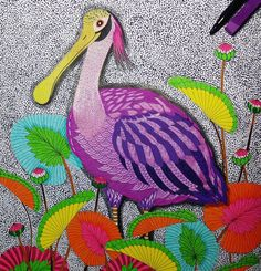 «Colorful spoonbill bird for @itsjennareyes   Book: Tropical Wonderland by @milliemarotta»