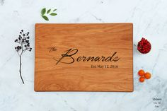 Unique Wedding Gift Wooden Cutting Board by WoodLuckEngraved