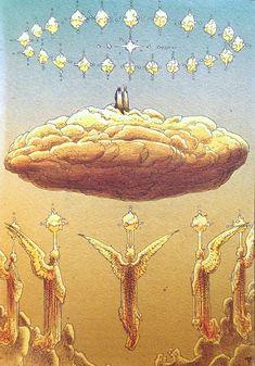 Dante's Divine Comedy illustrated by Moebius Jean Giraud, Manado, Illustrations, Illustration Art, Moebius Art, Writing Art, Soul Art, Comic Artist, Fantasy Art