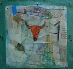 """""""The Mississippi"""" by Katherine McClure. 6 x 6 inches. Mixed media on wood board canvas. SOLD"""