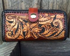 Checkbook Cover / Leather / Men / Women /  Western / Custom / Hand Carved and Tooled / Sheridan /  Wallet / Case