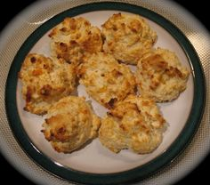 Cheddar-Garlic Biscuits from Food.com: This biscuit recipe came off the back of the Bisquick box. It is great with soups, stews and chili. They are really simple to make and are done in a flash.
