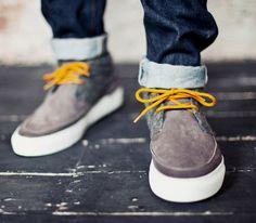 Grey suede, cuffed jeans.  #men #fashion  Linxspiration