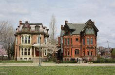 Brush Park rescues  These two Victorian beauties have been saved from destruction in the old Brush Park neighborhood in Detroit. The house on the left looks to be complete, while the one on the right is in progress.