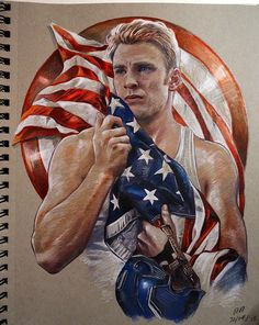 Captain America portrait. Copic markers, Prismacolor pencils and liquitex.