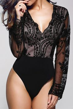 $19.42 Stylish Plunging Neck Long Sleeve Floral Sequined Women's Bodysuit More