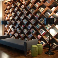 One wall for wine, one wall for books.  Big, cozy chair in the middle. I'd never have to leave!