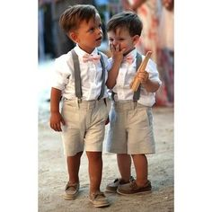 What's slicker than one kid in a classy shorts and bow tie ensemble? Two in the same outfit. | 23 Ring Bearers With Way More Style Than You