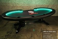 Contemporary Lumen Poker Table with LED with Custom Size Suited Speed Cloth Top Table, 10 Poker Supplies, Custom Poker Tables, Texas Poker, World Series Of Poker, Black Dining Chairs, Stainless Steel Cups, Fun To Be One, Game Room, Table Settings