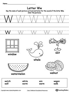 **FREE** Words Starting With Letter W Worksheet. Teach the beginning letter sound by saying the name of each picture and then allow your child to trace the uppercase and lowercase letter W in this printable activity worksheet. Letter W Activities, Printable Alphabet Worksheets, Preschool Letters, Learning Letters, Preschool Learning, Kindergarten Worksheets, Teaching, Tracing Worksheets, Kindergarten Classroom