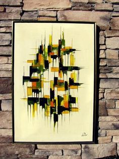 Fab Vintage Mid Century Modern Abstract Oil Painting Signed Stunning | eBay