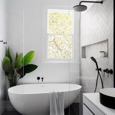 Home Interior Decoration Modern Scandinavian bathroom interior in black and white.Home Interior Decoration Modern Scandinavian bathroom interior in black and white Laundry In Bathroom, Bathroom Inspo, Paint Bathroom, Bathroom Small, Bathroom Mirrors, Cozy Bathroom, Bathroom Plants, Laundry Rooms, Bathroom Storage
