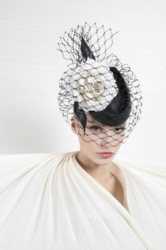 Philip Treacy London | Black and Ivory Pillbox | Black and Pill Box Hats | LOVEHATS.COM