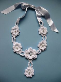 Crochet white necklace £16.00