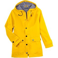 The iconic women's raincoat yellow Jaune (£127) ❤ liked on Polyvore featuring outerwear, coats, chaqueta, yellow coat, yellow raincoat, yellow rain coat, orange coat и mac coat