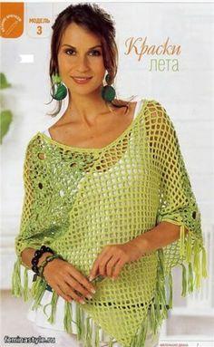 Poncho nia toni del verde / Needlework / Economics / Segreti Donne '/ Donna stile