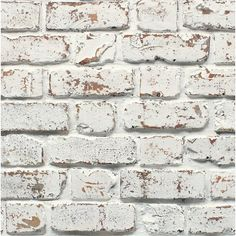 This wallpaper has a rustic white painted brick design and is perfect for adding a contemporary look to your room. Brick Wallpaper B&q, Diy Wallpaper, White Wallpaper, Porte Cochere, White Wash Brick, Brick Design, Brick And Stone, Rustic White, Decoration
