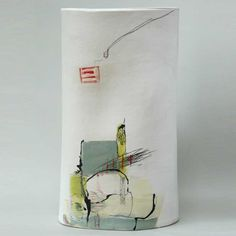 """Kate Wickham """"The clay surfaces are drawn onto and incised into both before and after she builds them. Layers of colour are then built up using slips, oxides, body stains, underglaze colours and glazes. Kate then fires the work to about 1120 degree C."""" http://cavalierofinn.bigcartel.com/product/kate-wickham-ceramic-vessels"""