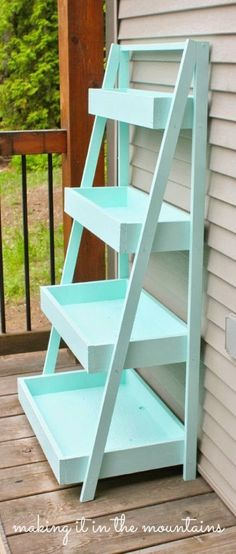 Beautiful DIY Ladder Shelf                                                                                                                                                     More