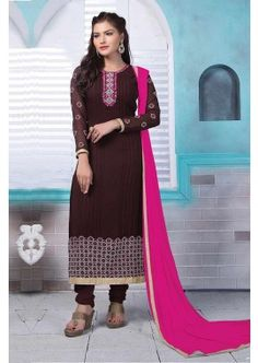brun foncé couleur renard costume georgette churidar, -  89,00 €,  #Salwarkameezfemme  #Salwarkameezmariage  #Tenuebollywood  #Shopkund