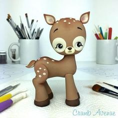 I made this cute fawn using the Donkey tutorial with TEMPLATES :) Just made a few small modifications. / fondant, gum paste, deer, Bambi, kawaii, birthday, cake topper, figurine, cake decorating, donkey, horse, unicorn, standing, pdf, Crumb Avenue