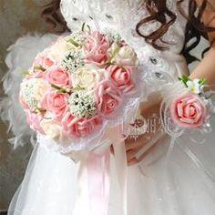 2017 Bridal Bridesmaid Pink&Ivory Handmade Artificial Rose Wedding Flowers Bridal Bouquets