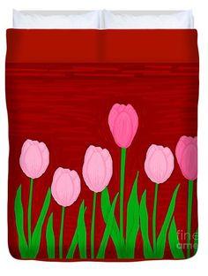 Duvet Cover featuring the digital art Seventulips by Mesa Teresita
