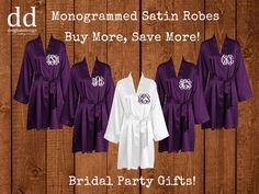 SET OF 5 Satin Bridesmaid Robes, Silk Personalized Robe, Bridal Robes, Monogrammed Robes, Embroidered Robes, Bridesmaid Gifts, Bride