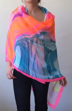 Neon Colors Swimwear Wrap Pareo Beach Cover Up by designscope
