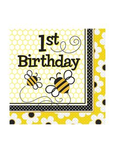 Bumble Bee 1st Birthday Luncheon Napkins (16 Pack)