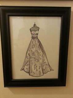 Custom wedding dress sketch. $50.00, via Etsy. GREAT GIFT! So personal, and a keepsake forever!