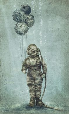 A man in an antique diving suit holds puffer fish as balloons in this quirky steampunk illustration by Eric Fan