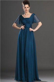 A-Line/Princess Square Floor-length Chiffon Prom Dress